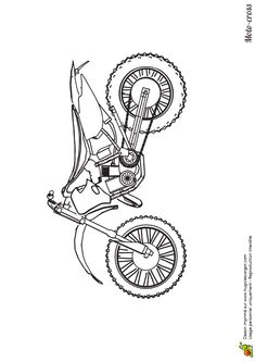 Vue De Profil Dun Joli Moto Cross Que Tu Peux Colorier Tout En