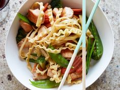 Pasta Stir-Fry : Slice cooked noodles lengthwise and add them to a saucy…