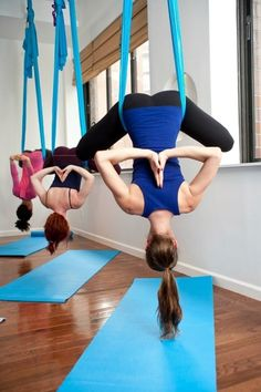 Anti-Gravity Yoga! Want to do this! Should have bought a groupon when Catherine did... Next time!