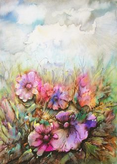 """Watercolor, Painting """"Flowers at the nature"""""""