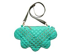 Dark Turquoise Cloud Bag - quilted with studs - unique copy by lukola on Etsy