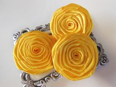 3 Pk Handmade Satin Roses in Brilliant Yellow 15 by GlitzyGlammed, $4.35