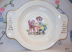 """Vintage baby plate """"I go here says the fork and I go here says the spoon"""" - gericht"""