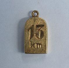 14K Gold Milestone Charm - 14ct, 585 Yellow Gold Vintage 13km Bracelet Charm/Pendant by LittleVintageCharmCo on Etsy