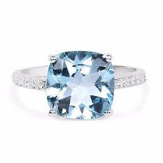 A Vintage 5.33CT Cushion Cut Genuine Ocean Blue Topaz & White Topaz Engagement Ring