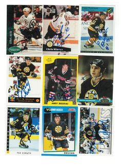 Boston Bruins Lot of 9 Autographed Cards. You will receive all cards in the picture. This Lot includes: Dave Reid, Grigori Panteleyev, Andy Bezeau, Fred Knipscheer, Ted Donato, Ted Donato, Chris Winnes, Randy Burridge & Vladimir Ruzicka.