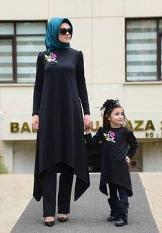 Dilber Tunik Siyah Anne Kız Kombini Kıyafetleri