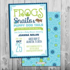 Frogs Snails and Puppy Dog Tails Invitation Baby by thepartystork, $15.00