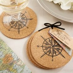 Let the Journey Begin Cork Coaster Favors (Kate Aspen 22042NA) | Buy at Wedding Favors Unlimited (http://www.weddingfavorsunlimited.com/let_the_journey_begin_cork_coaster_favors.html).