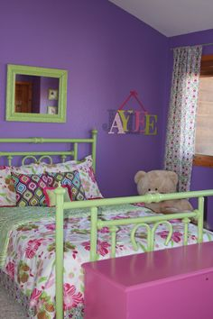 Purple, pink and green bedroom