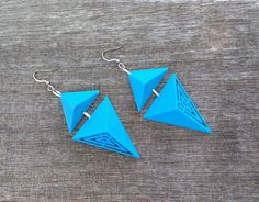 3D Printed Geo Bold Earrings, True Electric Bright Blue Triangles by FISH3Ddesigns