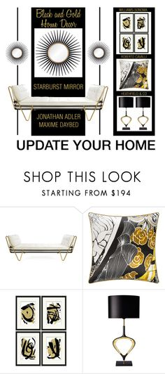 """""""Update Your Home With Black And Gold"""" by latoyacl ❤ liked on Polyvore featuring interior, interiors, interior design, home, home decor, interior decorating, Jonathan Adler, Roberto Cavalli, Williams-Sonoma and Heathfield & Co."""