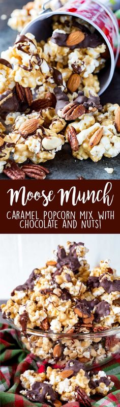 Crunchy caramel corn, drizzled in two kinds of chocolate and mixed with three ki. Crunchy caramel corn, drizzled in two kinds of chocolate and mixed with three kinds of nuts. Delicious crunch with every bite. Yummy Snacks, Delicious Desserts, Yummy Treats, Sweet Treats, Yummy Food, Popcorn Recipes, Snack Recipes, Dessert Recipes, Cooking Recipes