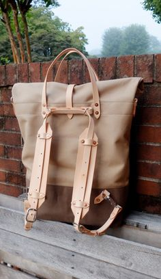 Waxed Canvas Roll Top Rucksack Backpack by RiegelGoodsCompany, $259.00