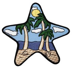 ID #1700 Starfish Sea Star Tropical Island Beach Scene Iron On Applique Patch