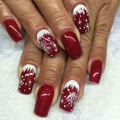 Winter nails with snowflake; red and white Christmas nails; cute and unique Chri. - - Winter nails with snowflake; red and white Christmas nails; cute and unique Chri… – - Holiday Nail Art, Winter Nail Art, Winter Nails, Xmas Nail Art, Red Nail Art, Summer Nails, Nail Art Noel, Nail Art Diy, Christmas Nail Art Designs