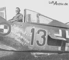 Klaus Faber of defense squadron. Red 13 had a red and white striped bottom on the plane so German anti aircraft gunners wouldn't shoot him down as he protected vulnerable Me as they took off and landed. Ww2 Fighter Planes, Ww2 Planes, Fighter Pilot, Luftwaffe, Ta 152, Focke Wulf 190, Ww2 Aircraft, Nose Art, Aviation Art