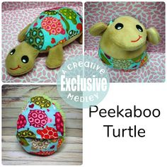 Peekaboo Turtle In the Hoop Stuffed Softie - Reversible folds into an egg, ITH, IN The Hoop, Embroid Embroidery Designs, Machine Embroidery Applique, Baby Sewing, Softies, Diy Gifts, Screen Printing, Turtle, Sewing Projects, Crafty