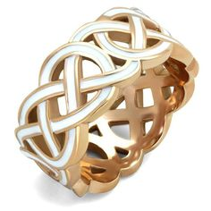 ARTK2159 Stainless Steel Rose Gold Plated & White Epoxy Design Fashion Ring Women Sz 5-10 - MarimorJewelry.com