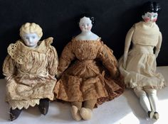 c1800s Rare Lot of Three German Porcelain Head Dolls Original Clothes