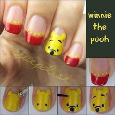 Cute Nail Tutorials for Your New Manicure - Pretty Designs : Pooh Bear Nails - this is too cute! Nail Art Disney, Disney Nail Designs, Cute Nail Designs, Pretty Designs, Simple Disney Nails, Cute Nail Art, Cute Nails, Pretty Nails, Fancy Nails