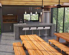 Parrilla Interior, Outdoor Grill Station, Barbecue Design, Outdoor Fireplace Designs, Small Apartment Interior, Modern Kitchen Interiors, Backyard Pool Designs, Bungalow House Design, Outdoor Kitchen Design