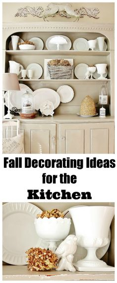 Farmhouse kitchen decorated with dried hydrangea and vintage accessories. Love the neutral colors for fall. thistlewoodfarms.com