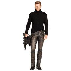 Slim-Fit Leather Pant - Slim Pants - RalphLauren.com