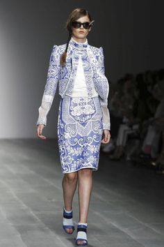 Bora Aksu Ready To Wear Spring Summer 2015 London...Beautiful fabric. I see pants. Imagine this in white, cream, or silver. Ask your seamstress for fabric suggestions that fit your wedding theme.