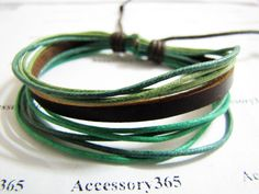 Womens Leather Bracelet with Cotton Ropes by braceletcool on Etsy, $3.50