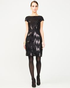 All-over Sequin Dress - Pair an all-over sequin dress with dangerously high heels for a glamorous night out. Sequin Dress, Cap Sleeves, Night Out, Sequins, Glamour, Formal Dresses, How To Make, Black, Style
