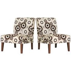Set of 2 accent chairs: Tan, brown and cream