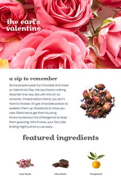 Is this the most romantic Earl Grey ever? Tea Recipes, Coffee Recipes, Wine Recipes, Recipies, Recipe Journal, Food Journal, Davids Tea, Healthy Food, Healthy Recipes