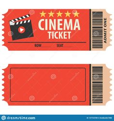 Vector Red Cinema Ticket Isolated On White Background. Cinema Ticket, Skip To Watch Movies, Realistic Look. Movie Theater Party, Cinema Party, Movie Night Party, Cinema Box, Cinema Ticket, Cinema Wallpaper, Redbox Gift Card, Movie Ticket Template, Festival Cinema