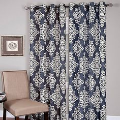 The Medina window curtain panels feature an exotic ikat design and bring a stunning look to any room. The panels easily hang with grommets, are sold individually and measure 52 wide each. 80% polyester/20% linen. Machine wash.