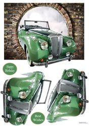 A lovely vintage car driving through a hole in the wall. Decoupage the car. Small Luxury Cars, Vintage Cars, Decoupage, Card Making, Card Designs, Car Dealers, Printable, Craft, Brown