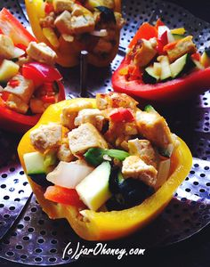 tofu veggie stuffed peppers by jarOhoney.com