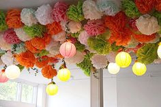 Pom Poms and lanterns decorate ceiling at wedding reception Wedding Chairs, Wedding Reception Decorations, Backdrop Wedding, Table Wedding, Wedding Ideas, Communion, Wedding Ceiling, Crafts To Make, Diy Crafts