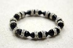 How to Make Easy Stretch Bracelets with Black Crystal Beads and Rhinestone Beads by Jersica