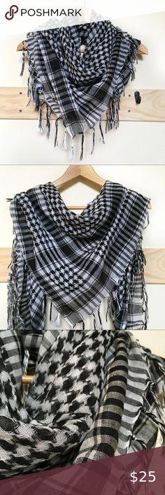 100/% Cotton Shemagh Wrap Sarong NEW Arab Scarf Blue on White Pashmina