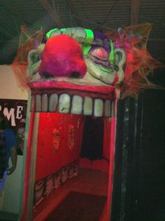Perfect entrance to LALSRM Ghost Train Clown Section! The entrance to the art room for the sci-fi show. general idea but I would make it waaaaay less scary