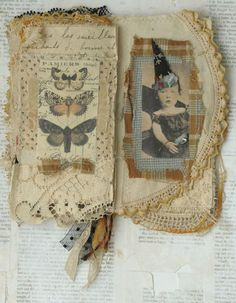 Mixed Media Fabric Collage Book of Little Witches | eBay Halloween Books, Vintage Halloween, Halloween Stuff, Happy Halloween, Fabric Journals, Art Journals, Journal Art, Fabric Art, Fabric Books