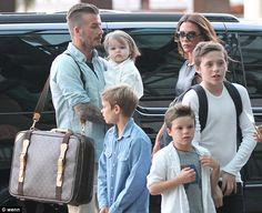 New chapter: The Beckham family, pictured in Los Angeles, will be hoping to spend more time together now David has retired from football
