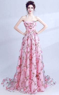 Elegant Pink Flowers Strapless Sweetheart Prom Dress #promdress #homecomingdress #prom #homecoming #formaldress #pinkpromdress #pink #floralprint