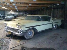 While digging through the classifieds, we stumbled across this 1958 Impala and realized that we may have hit the mother lode. The seller claims that this is one of hundreds of automobiles that they acquired from their late Uncle's. Abandoned Cars, Abandoned Vehicles, Abandoned Places, Car Barn, Automobile, Rusty Cars, Old School Cars, Power Cars, Chevrolet Impala
