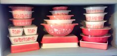 Pyrex pink & white. Goosberry, pink butterprint, pink flamingo.