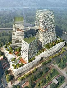 Chinatrust Bank complex features modern buildings with green roofs Green Architecture, Futuristic Architecture, Sustainable Architecture, Sustainable Design, Amazing Architecture, Contemporary Architecture, Classical Architecture, High Building, Tower Building