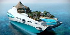 Youve probably seen various design of luxury yachts but for sure you havent seen such creative one. UK based company Yacht Island Design Ltd. moved up to a new level and has combined giant-sized personal luxury yacht and tropical island. This floating paradise has its own miniature volcano, flowing waterfall, mountain stream, and valley pool flanked by a series of small bamboo huts and shelter-providing palm trees. Deployable beach deck allows acces to the sea for various waterspo