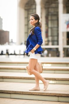 Cobalt City :: Royal blue blazer Tod's loafers Unique Fashion, Love Fashion, Fashion Outfits, Womens Fashion, Fashion Clothes, Style Fashion, Fashion Tips, Blue Dress Outfits, Blue Dresses