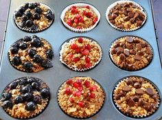 INDIVIDUAL BAKED OATMEAL CUPS- CLEAN EATING. I feel like kids would go crazy over these. Yum!